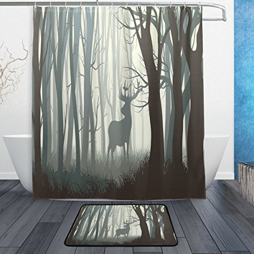 Dark Forest with Wild Deer Animal Waterproof Thick Shower Curtain 60