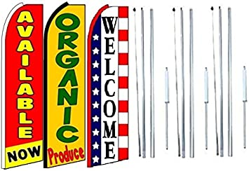 Pack of 3 Available Now Organic Produce Open King Swooper Feather Flag Sign Kit with Complete Hybrid Pole Set
