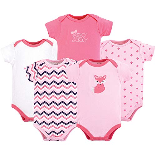 Luvable Friends Unisex Baby Cotton Bodysuits, Foxy Pink Short Sleeve 5 Pack, 0-3 Months (3M)