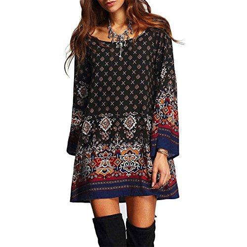 Totem Floral Print Mini Dress (Black) - 7