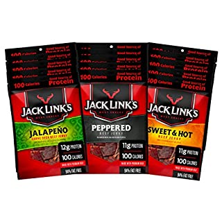 Jack Link's Beef Jerky Bold Variety Pack – Includes Sweet & Hot, Jalapeño and Peppered Beef Jerky, Great for Lunch Boxes, Good Source of Protein – Pack of 15, 1.25 Oz Bags - 94% Fat Free, No Added MSG