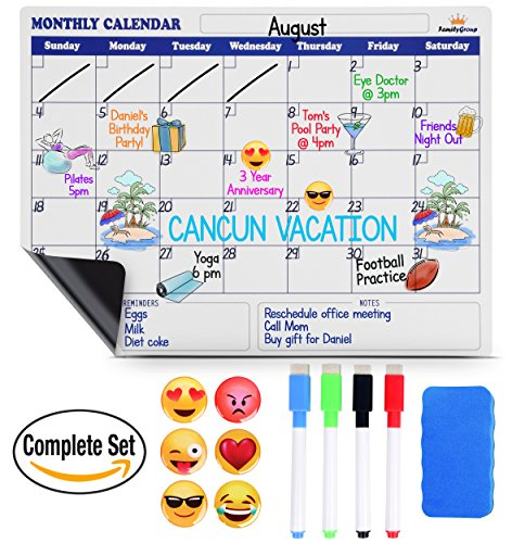 Magnetic Dry Erase Calendar For Fridge   Large Monthly Refrigerator Calendar Whiteboard  Bonus 6 Emoji Magnets   4 Color Markers   Eraser  Kids Organizer List For Kitchen Refrigerator 16 X12  White