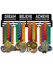 VICTORY HANGERS Dream Believe Achieve V2 Medal Houder Display Rack - 3 Bars Zwart Gecoat 3 mm Staal Metalen Hanger met Wall Mount Standoffs - 18 Inch Wide Holds 60 Medailles of meer