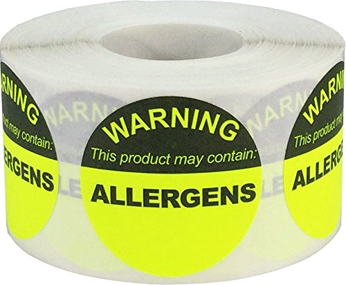Food Allergen Warning Stickers Fluorescent Yellow 1 1/2 Inch Round Circle Dots 500 Total Adhesive Stickers ()