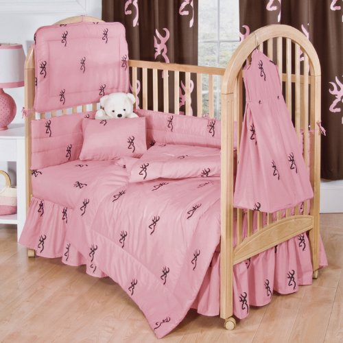 Browning Pink Buckmark 6 Piece Crib Set & Set of 2 (Two) Complementary Drape Sets includes (Crib Fitted Sheet, Crib Bumper Pad, Crib Headboard Pad, Crib Bedskirt, Crib Comforter, Crib Diaper Stacker, Set of Two Drape Sets To Decorate 2 Windows) - Save Big By Bundling! ()
