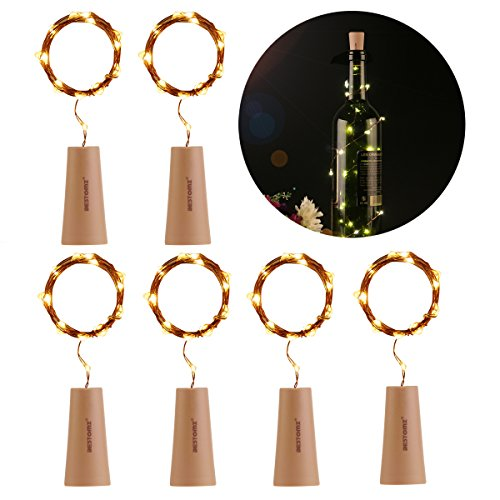 Bottle Lights,BESTOMZ 6PCS Wine Bottle Light 40 inch Starry Light For Christmas Wedding and Halloween Party (Warm White) -