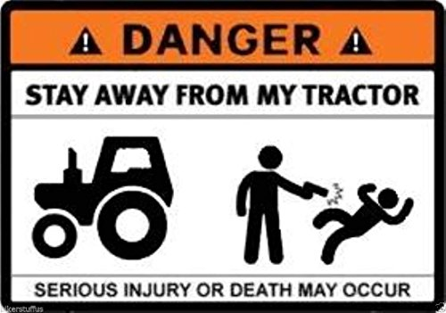 MFX Design Danger Stay Away from My Tractor Sticker Decal Bumper Sticker Decal Vinyl - Made in USA 3.5 in. x 2.5 in.