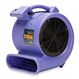 Max Storm 1/2 HP Durable Lightweight Air Mover Carpet Dryer Blower Floor Fan for Pro Janitorial, Purple