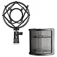 Neewer Microphone Shock Mount with Mask Shield Mic Windscreen Pop Filter, Anti-Vibration Suspension Shock Mount Holder Clip for Diameter 46MM-53MM Microphone