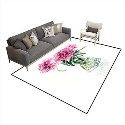 Amazon.com: Area Rugs for Bedroom Bouquet of Pink Peonies ...