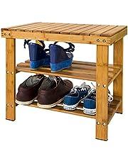 SoBuy Zapatero, estantería para zapatos de bambú de alta calidad con 2 años de garantía, L50xP29xA45, FSR02-K-N.