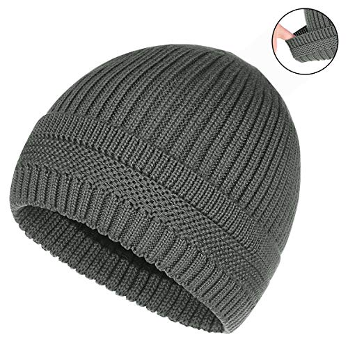 (OMECHY Winter Warm Knit Beanie Hats Cuff Plain Toboggan Skull Ski Cap Grey)