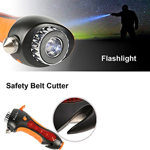 Futuresky Car Safety Hammer 6-In-1 Emergency Life Saving Kit Seatbelt Cutter–Window Breaker–Emergency Rescue Kit–Essential Disaster Escape Tool–Built In Flashlight,Whistle,Magnet&Alarm Lamp by Futuresky (Image #5)