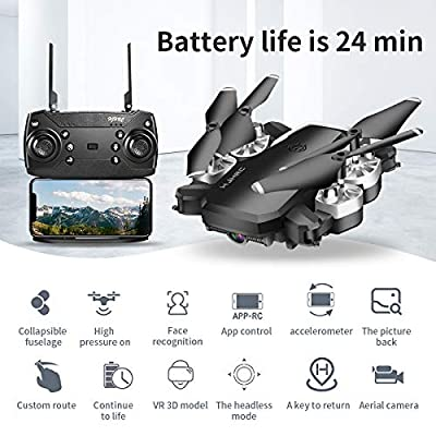 B-Qtech Drone with Camera, 1080P HD Drone for Kids & Adults & Beginners, Foldable WiFi RC Quadcopter Drone, 24 Min Long Flight Time, Live Video, Headless Mode,VR 3D, One Key Return, 3 Speed, 3D Flips