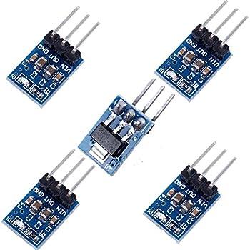 Icstation AMS1117-3.3 DC Voltage Regulator Step Down Power Supply Module 4.75V-12V to 3.3V 800mA (Pack of 5)