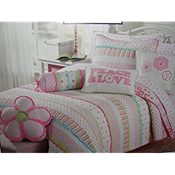 Lovely Girls Pink And Pastels Cotton Quilt Set (Twin)
