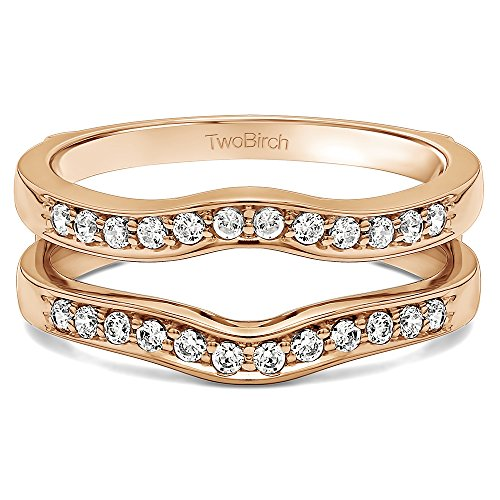 TwoBirch 0 ct. Charles Colvard Created Moissanite Contour Shape Channel Set Enhancer Ring Guard in 10k Rose Gold (0.1 ct. twt.)