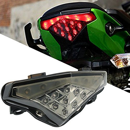 BSK Integrated Motorcycle 15 LED Tail Light Rear Turn Signal Lamp for Kawasaki Ninja 650 650R ER6N ER6F 2012-2016 (Tail Ninja Light)