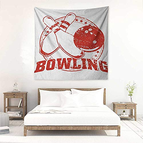 Bowling Party DIY Tapestry Grunge Circle of Stars with Vintage Distressed Emblem Design Typography Occlusion Cloth Painting 39W x 39L INCH Red and White (Desert Palm Bowling)