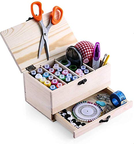 BTU Wooden Sewing Basket Box with Sewing Kit Accessories Good Gift for Adults/Kids/Girls/Beginner/Professional and Mother