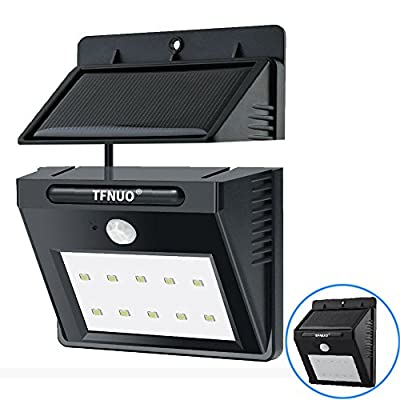 [Extended] 10 LED Solar Sensor Powered Wall Lights TFNUO Wireless Security Light Weatherproof Motion Sensor Lighting w/ Separately Installed for OUTDOOR/INDOOR