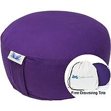 Subtle Serenity Yoga Zafu Meditation Cushion & Free Drawstring Tote - Organic Cotton Buckwheat Hull Filled Meditation Pillow