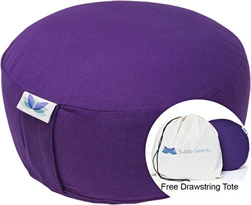 Subtle Serenity Yoga Zafu Meditation Cushion & Free Drawstring Tote - Organic Cotton Buckwheat Hull Filled Purple Meditation Pillow