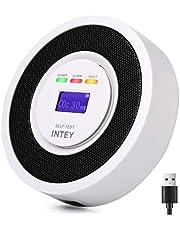 INTEY Detector de Monoxido Carbono Señal electroquímica Sensor de CO Alta Sensibilidad y Fuerte Antiinterferencia, Funcionamiento con Batería [Configure el Cable de Carga USB de Techo de 3m]