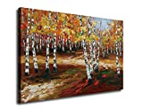 Canvas Wall Art Autumn Forests Abstract Painting Silver Birch Nature Picture Canvas Prints 24″ x 36″ Contemporary Artwork Landscape Wall Decor Framed Ready to Hang for Home and Office Decoration For Sale