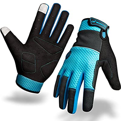 Waterproof Cycling Gloves, Winter Mountain Full Finger Anti-Shock Bike Gloves for Women and Men with Two Screen Touch Spots