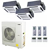 Blueridge 21 SEER Three Zone 42,000 BTU Ductless Mini Split Heat Pump (2) 12k ceiling (1) 18k ceiling units
