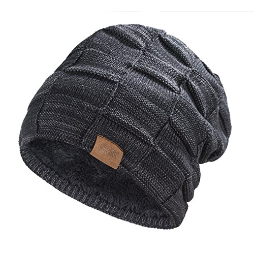 REDESS Beanie Hat For Men and Women Winter Warm Hats Knit Slouchy Thick Skull Cap Variegated Mix-Black Designed Beanie