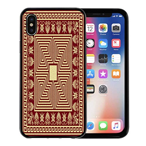 Emvency Phone Case for Apple iPhone Xs Case/iPhone X Case,Border Traditional Vintage Golden and Round Greek Meander Floral Soft Rubber Border Decorative, Black