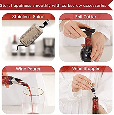 YanYun Kit Sacacorchos de Abridor de Botellas de Vino - Sacacorchos de AleacióN de Zinc, Saca Corchos Sacacorchos Vertical Compacto Vino