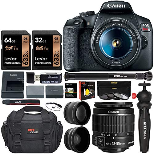 Canon EOS Rebel T7 DSLR Travel Bundle with 58mm 2X Telephoto, Wide Angle Lens + Two Lexar 633x 64GB Video Memory Cards…