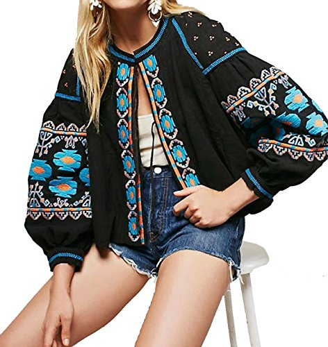 Embroidered Womens Jacket (R.Vivimos Women Autumn Vintage Embroidered Short Jacket Large)
