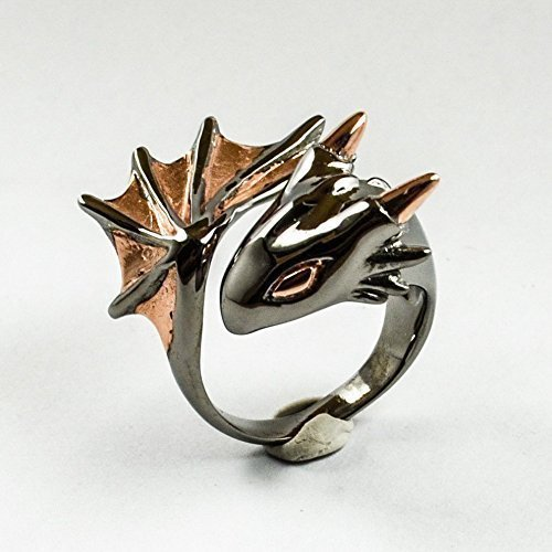 Twilight Dragon Ring by MONVATOO London, a free-size (adjustable band) black ruthenium and 18k pink-gold plated dragon ring jewelry by MONVATOO London