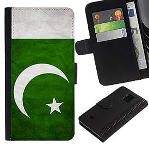 All Phone Most Case / Oferta Especial Cáscara Funda de cuero Monedero Cubierta de proteccion Caso / Wallet Case for Samsung Galaxy S5 Mini, SM-G800 // National Flag Nation Country Pakistan