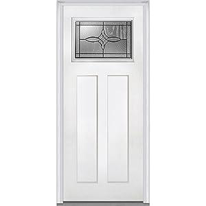 National Door Company ZA21380L Craftsman 2-Panel Lenora Decorative Glass Fiberglass Smooth Primed 36