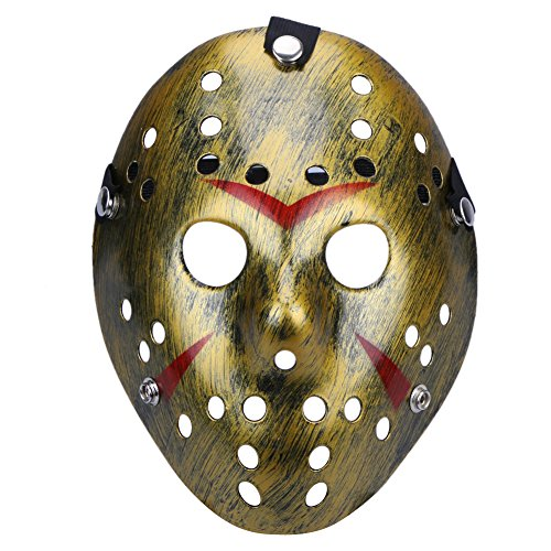 Goodfen Halloween Masks Dance Gathering Jason Mask Horror Funny Mask Costume Party Masks Gift for Kids and Adults Christmas Supplies (Retro Gold) -