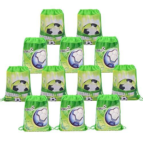 Babofarm's 12 Soccer Party Bags Drawstring Pouch Backpacks Kids Soccer Club Backpacks