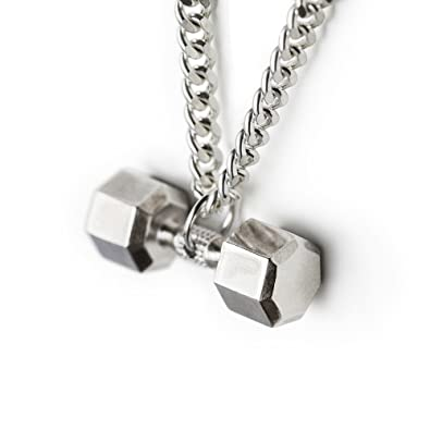 gifts barbell pendant bluegorillainc jewelry fashion fitness steel stainless men necklaces products s necklace grande dumbbell black