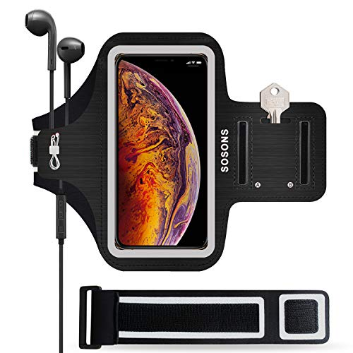 SOSONS iPhone Xs Max Armband, 6.5 Inch Water Resistant Sports Gym Armband for iPhone Xs Max.Fingerprint Touch Supported and Fits Smartphones with Slim Case,with Card Pockets + Extension Strap(Black)