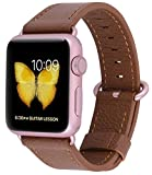 Apple Watch Band 38mm Women - PEAK ZHANG Genuine Leather Replacement Wrist Strap with Stainless Metal Adapter Clasp for Iwatch Series 2,Series 1,Sport,Edition(38mm Light Brown+Rose glod Buckle)