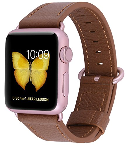 Compatible Iwatch Band 38mm 40mm - PEAK ZHANG Women Genuine Leather Replacement Strap with Rose Gold Adapter and Buckle Compatible Series 4 (40mm) Series 3 2 1 (38mm), Light Brown