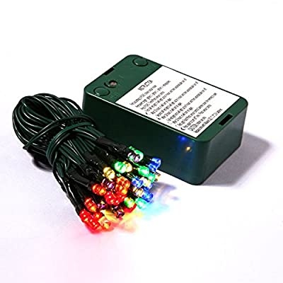 "Plastic Corded with 3 Timer Options 20"" Multicolored Battery Operated Lights with 50 LED Lights and Each Spaced 5"" Apart"