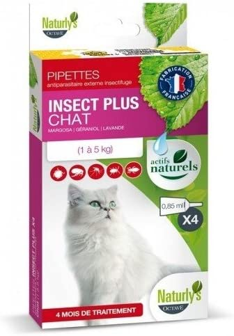 naturlys Octave – Producto natural – Pipeta anti-parasitaire Insect Plus para gatos – naturly S: Amazon.es: Productos para mascotas