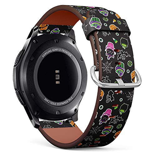 Compatible with Samsung Gear S3 Frontier/Classic - Leather Watch Wrist Band Strap Bracelet with Quick-Release Pins (Happy Halloween Cupcakes Cute Elements) ()