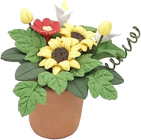 TwoCC Accesorios para el hogar, mini casa de muñecas miniatura planta verde flor en maceta Accesorio de jardín de hadas (amarillo)