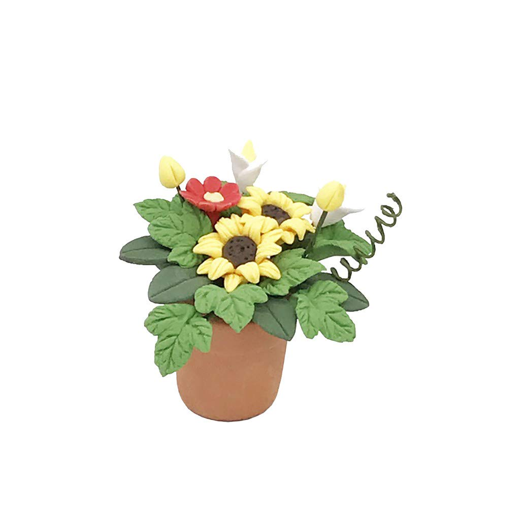 callm 1/12 Miniature Scene Model Dollhouse Accessories Mini Green Plant Flower Kid Toy for The 1:12 or 1:6 Scale Miniature Setting (Yellow)